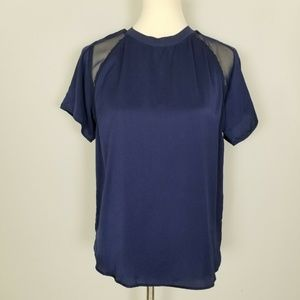 Zara Crewneck Mesh Satin Blue Short Sleeves Top M